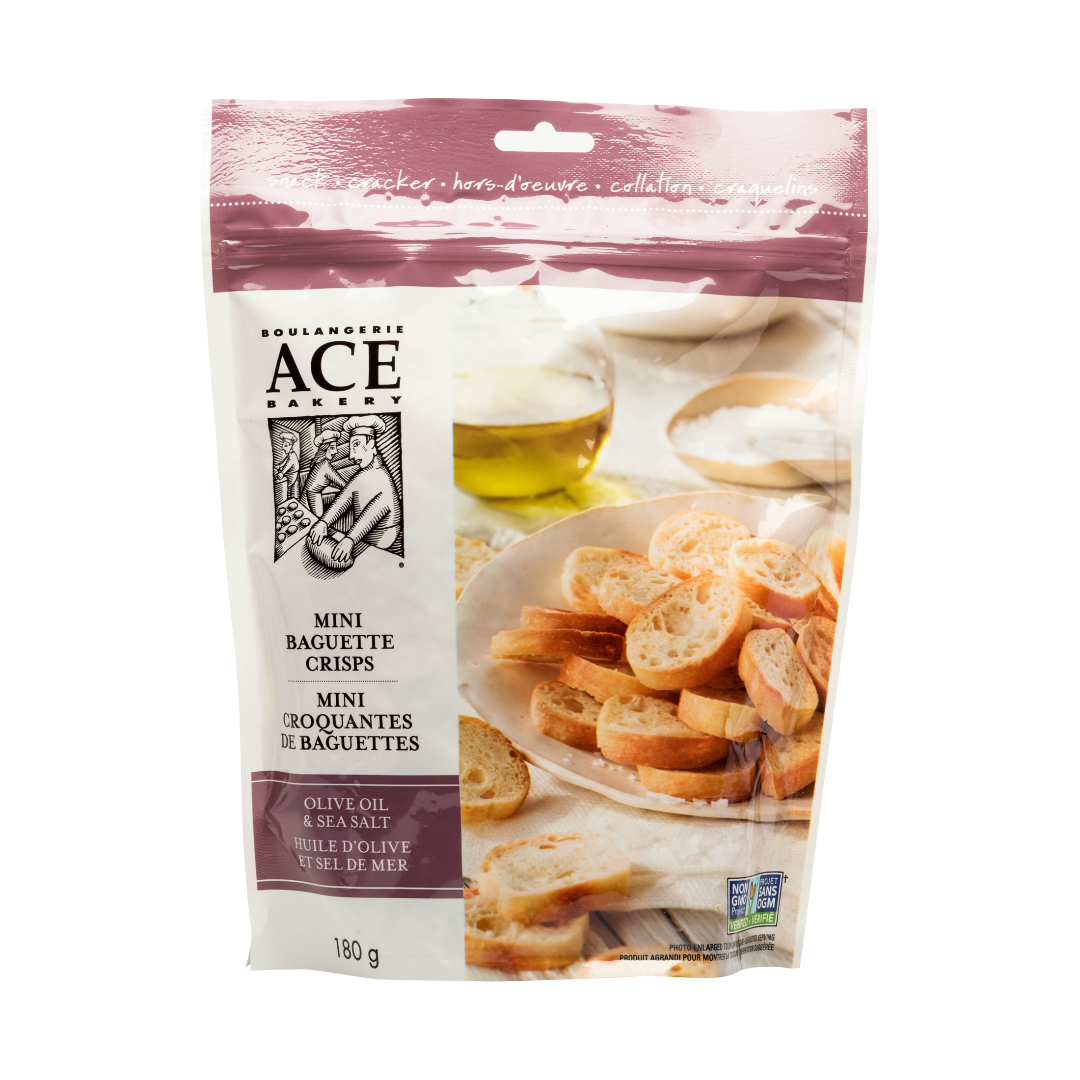 OLIVE OIL & SEA SALT MINI BAGUETTE CRISPS