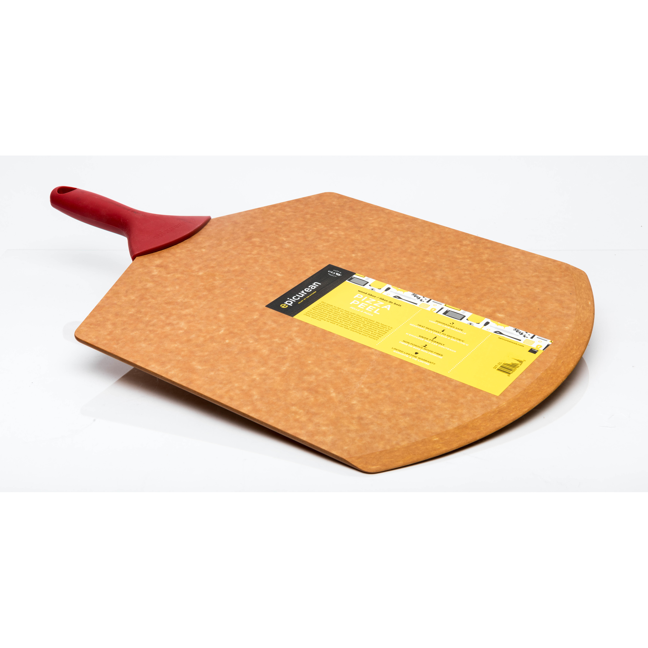 GOURMET LARGE PIZZA PEEL NATURAL & RED HANDLE